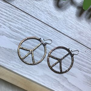 Jewelry - Antiqued Brass style dangle peace sign earrings